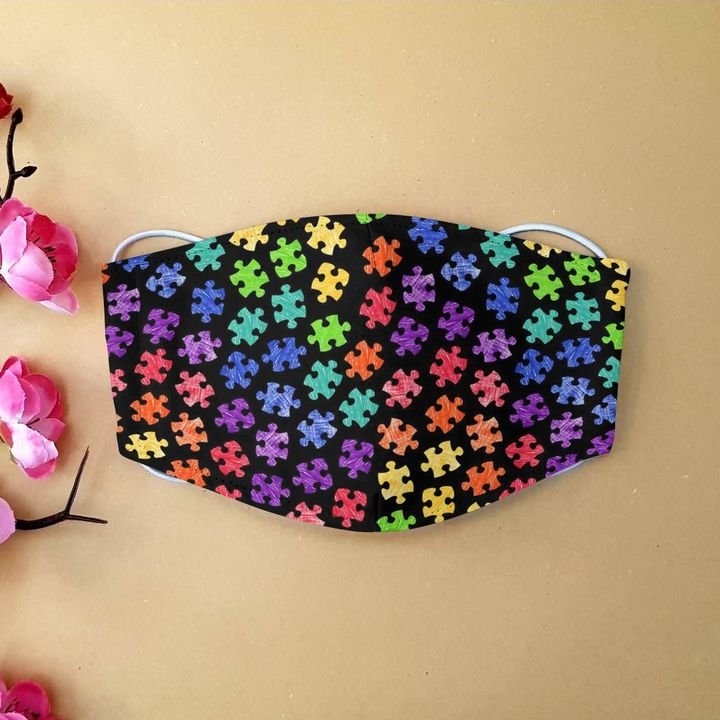 World autism awareness day puzzle pieces anti-dust face mask 2