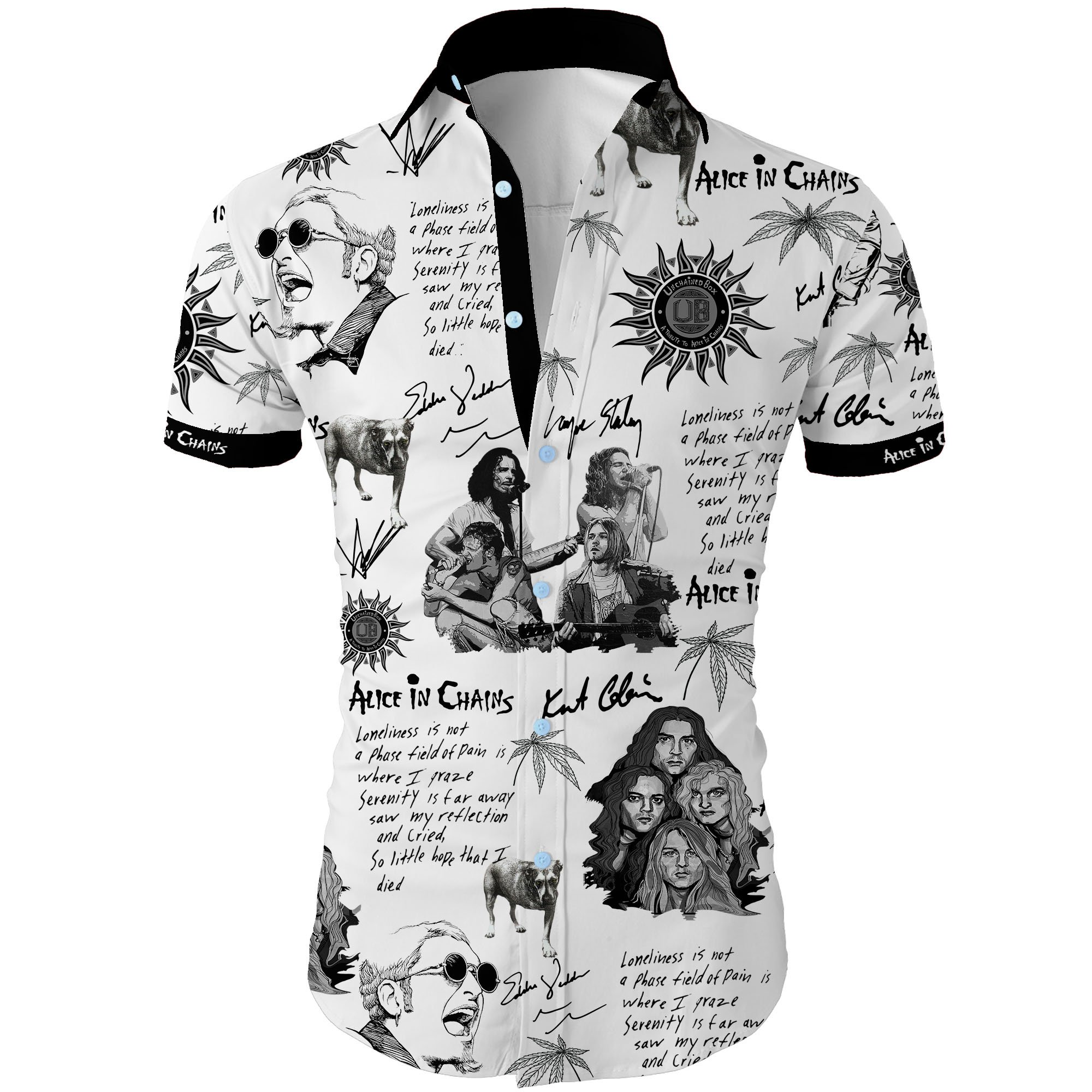 Alice in chains all over printed hawaiian shirt 2