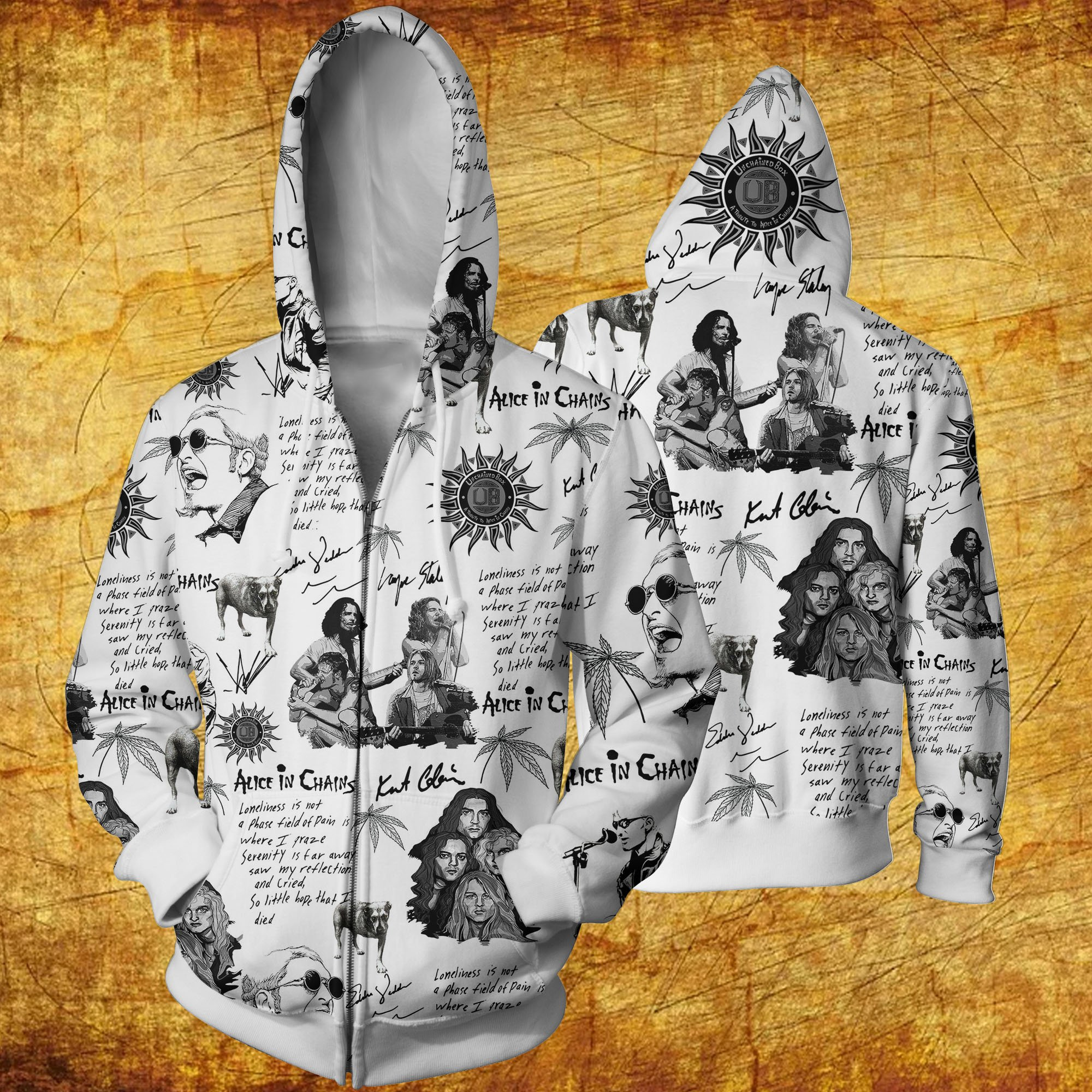 Alice in chains all over printed hawaiian zip hoodie