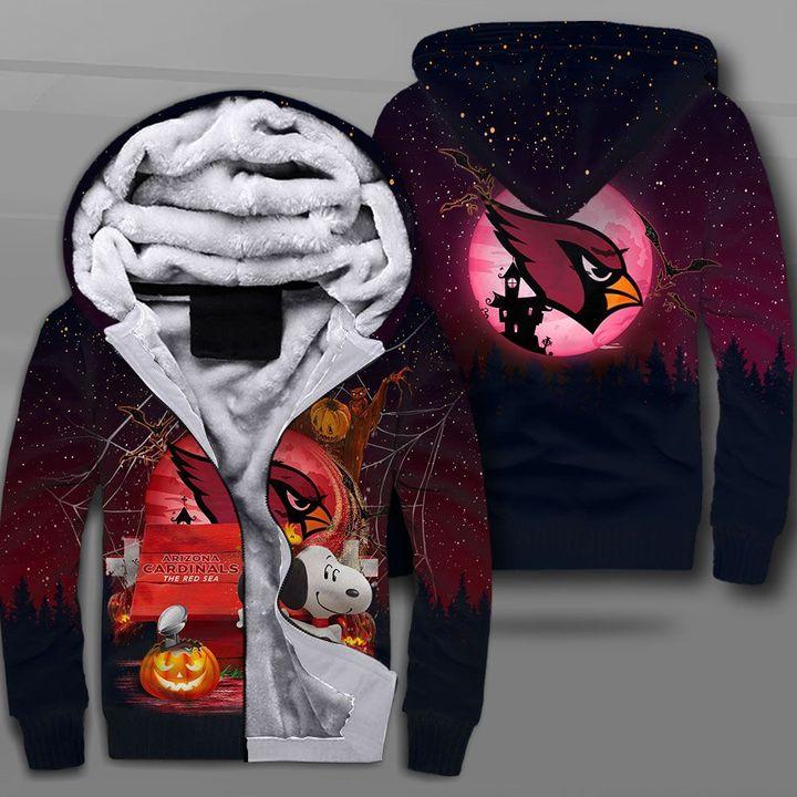 Arizona cardinals red sea snoopy full printing fleece hoodie