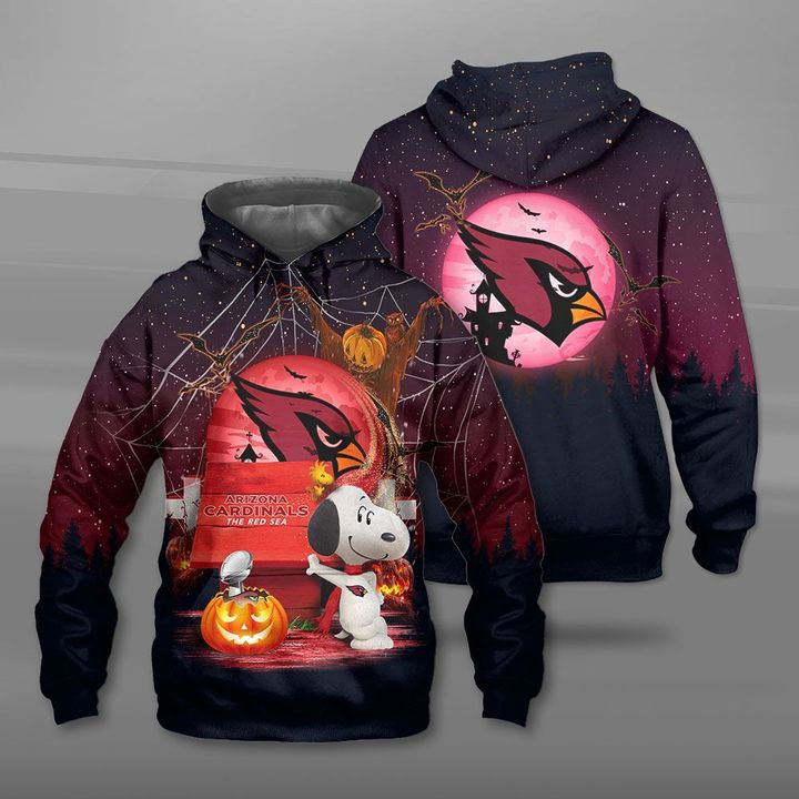 Arizona cardinals red sea snoopy full printing hoodie