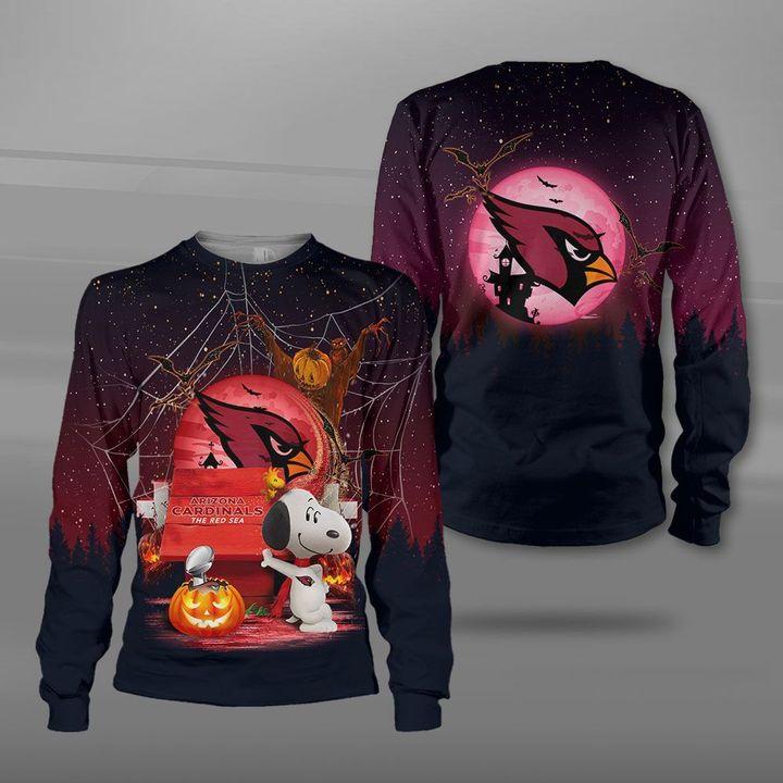 Arizona cardinals red sea snoopy full printing sweatshirt