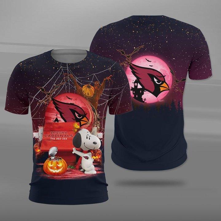 Arizona cardinals red sea snoopy full printing tshirt