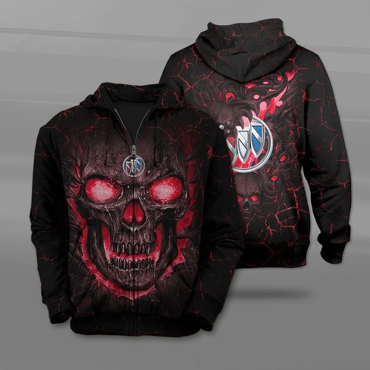 Buick lava skull full printing zip hoodie