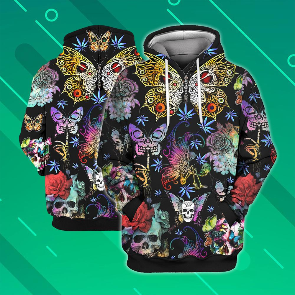 Butterfly skull all over printed hawaiian hoodie