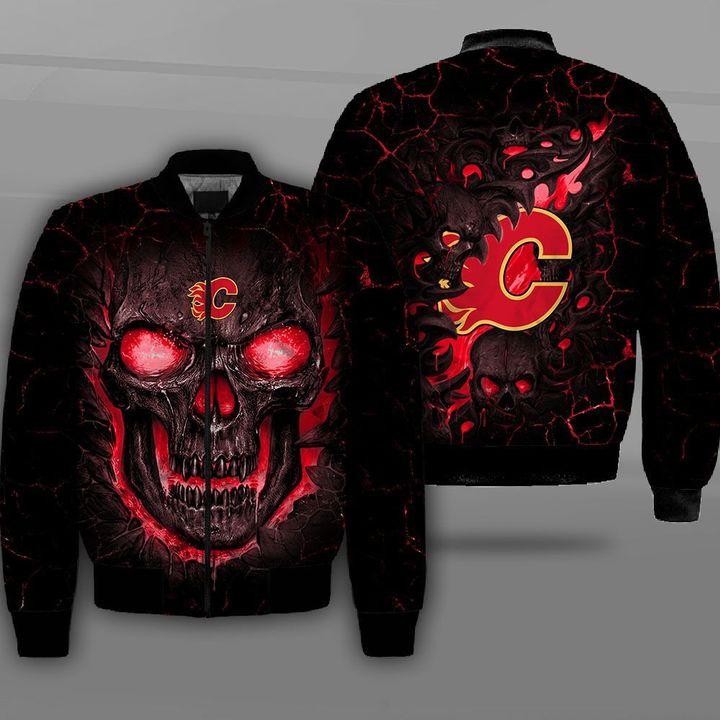 Calgary flames lava skull full printing bomber