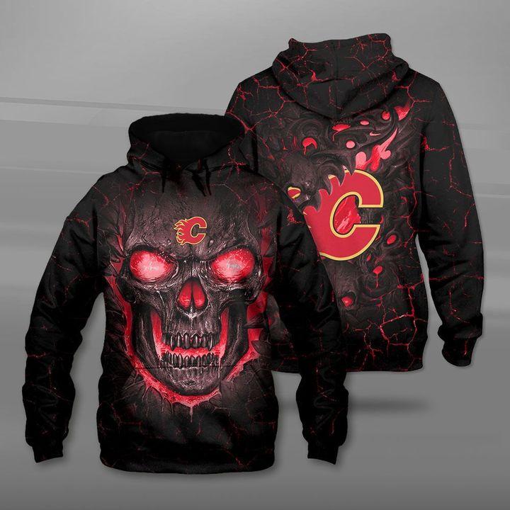 Calgary flames lava skull full printing hoodie