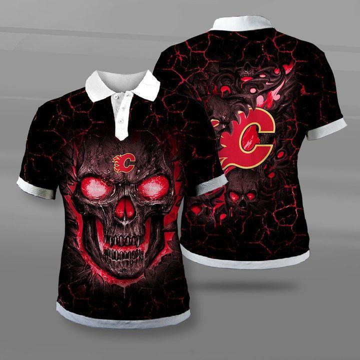 Calgary flames lava skull full printing polo
