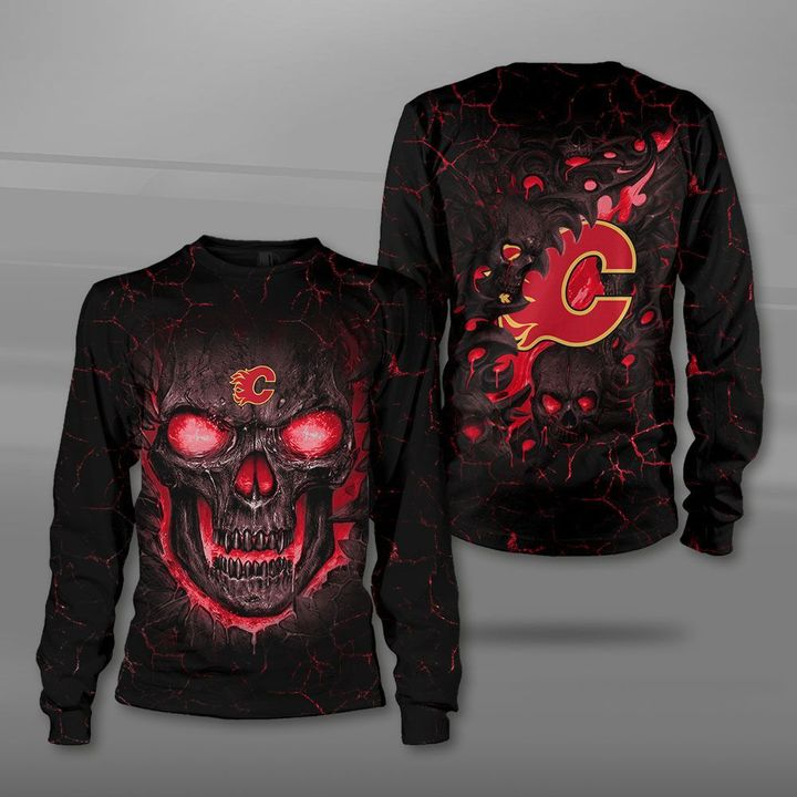 Calgary flames lava skull full printing sweatshirt