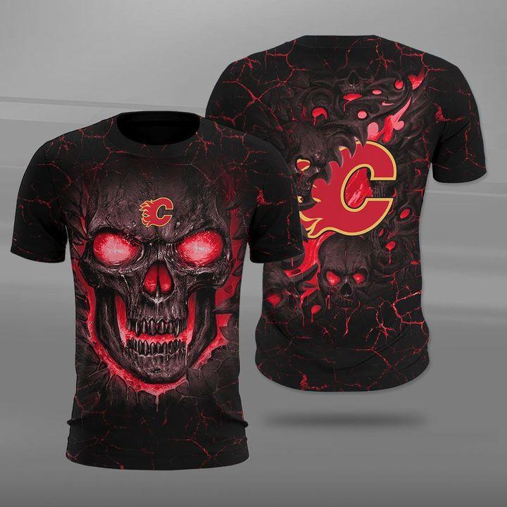 Calgary flames lava skull full printing tshirt