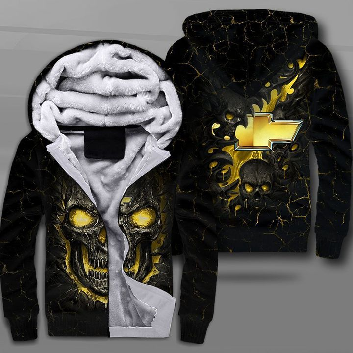 Chevrolet lava skull full printing fleece hoodie