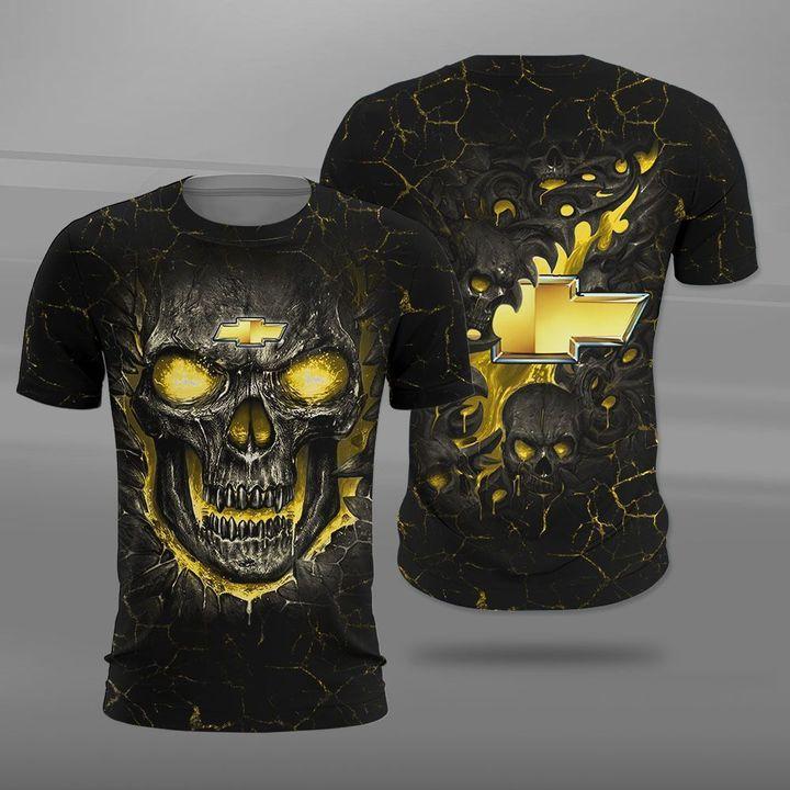 Chevrolet lava skull full printing tshirt