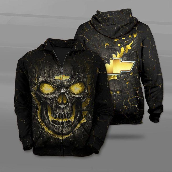 Chevrolet lava skull full printing zip hoodie