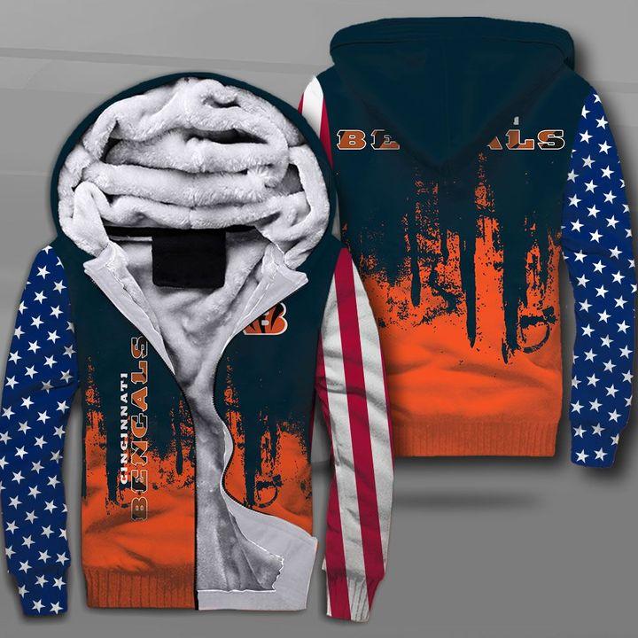 Cincinnati bengals american flag full printing fleece hoodie