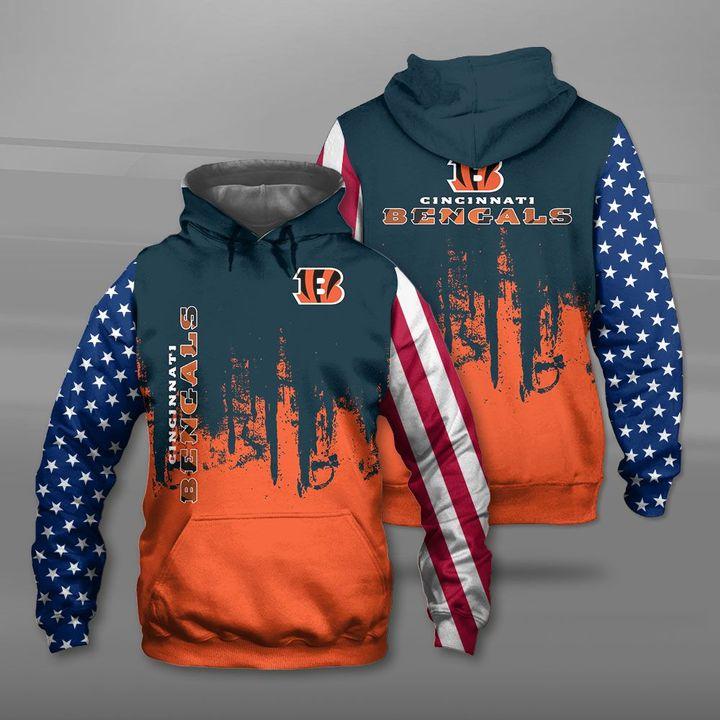 Cincinnati bengals american flag full printing hoodie
