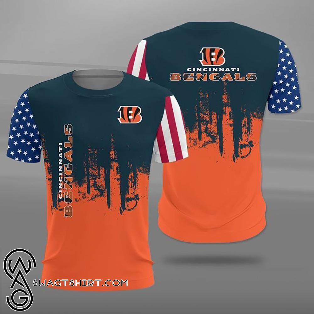 Cincinnati bengals american flag full printing shirt
