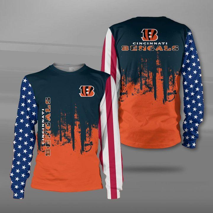 Cincinnati bengals american flag full printing sweatshirt