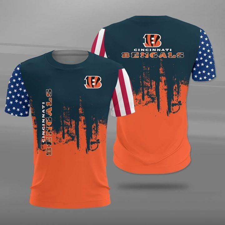 Cincinnati bengals american flag full printing tshirt