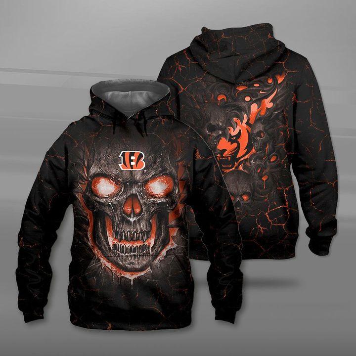 Cincinnati bengals lava skull full printing hoodie