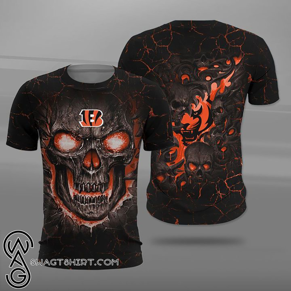 Cincinnati bengals lava skull full printing shirt