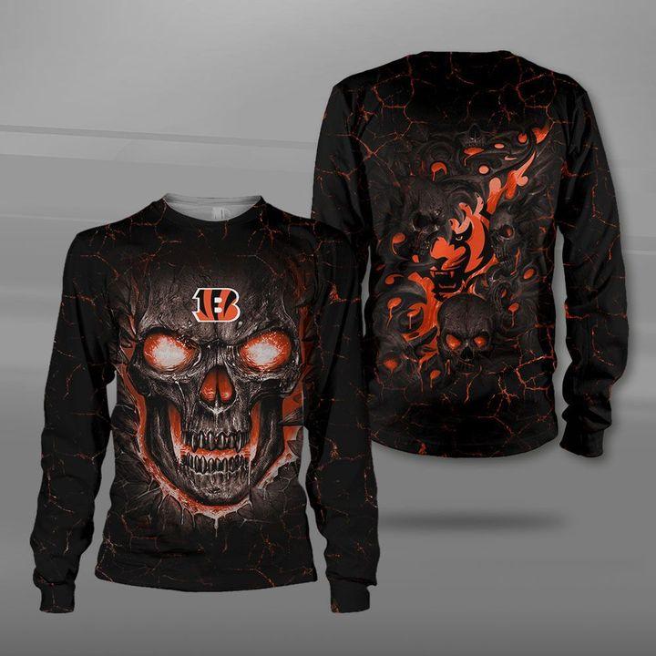 Cincinnati bengals lava skull full printing sweatshirt