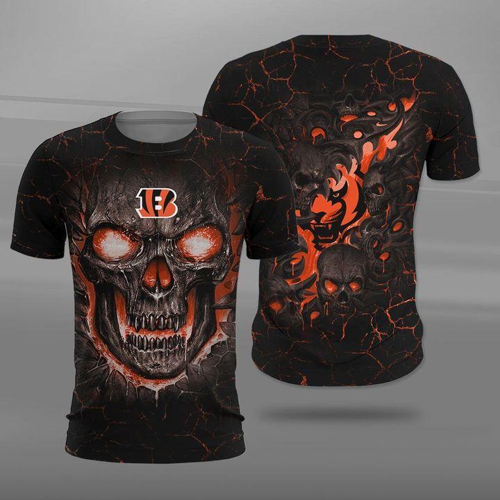 Cincinnati bengals lava skull full printing tshirt