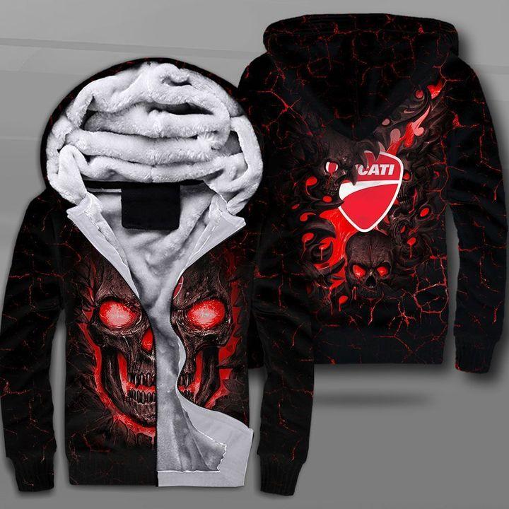 Ducati lava skull full printing fleece hoodie