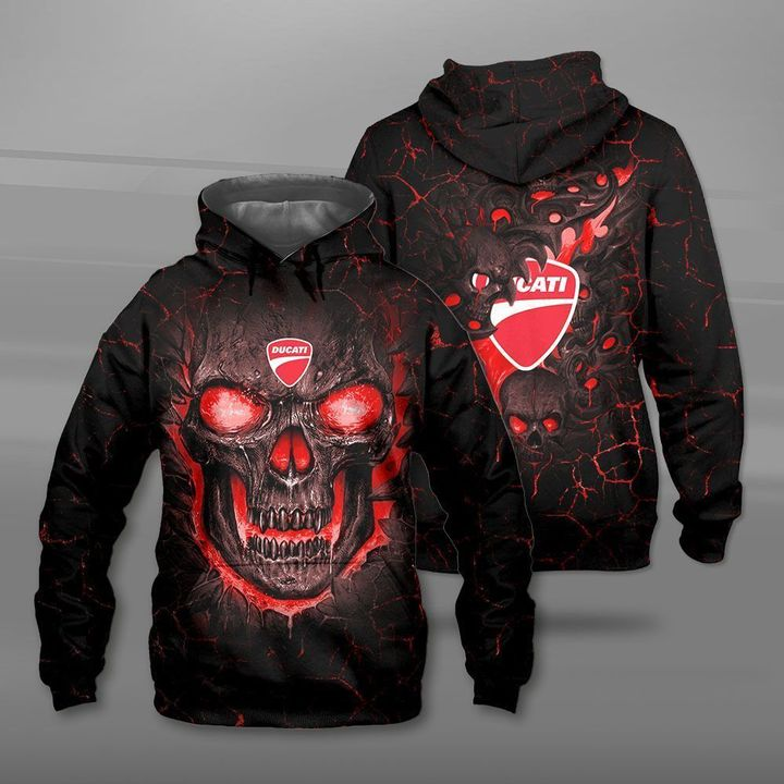 Ducati lava skull full printing hoodie