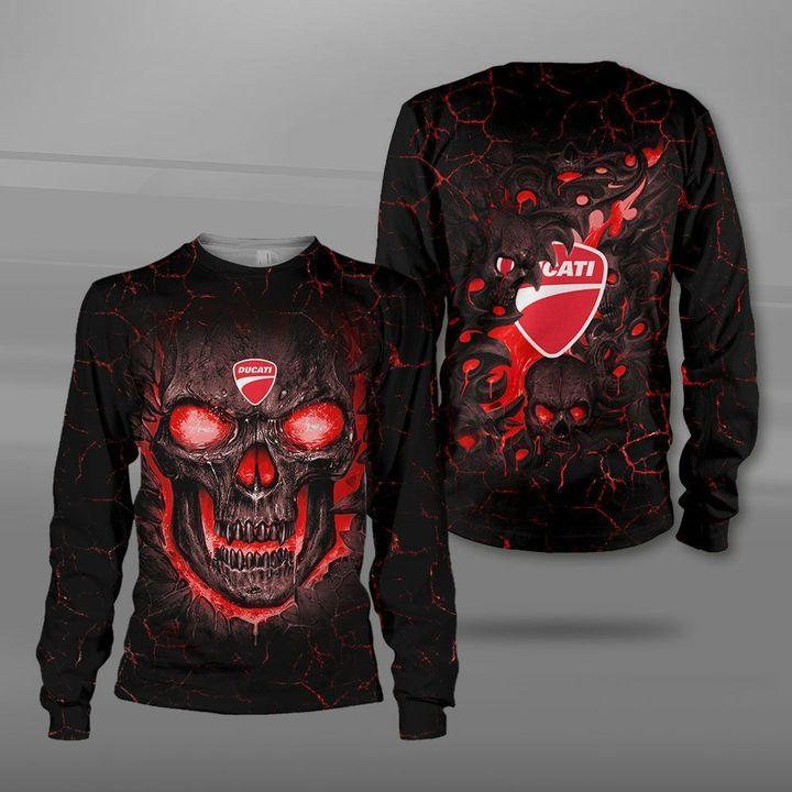 Ducati lava skull full printing sweatshirt