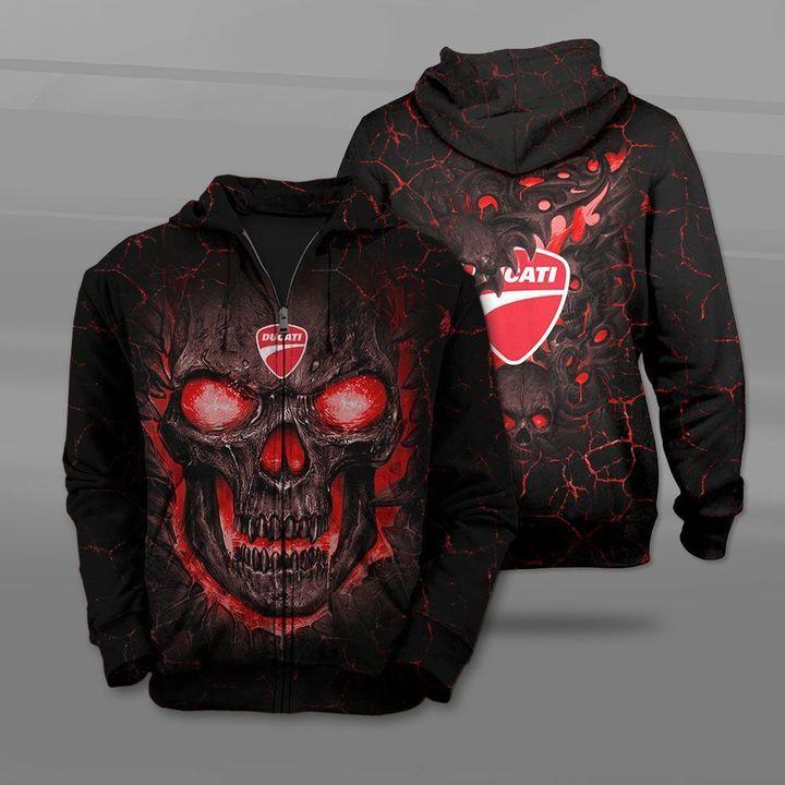 Ducati lava skull full printing zip hoodie