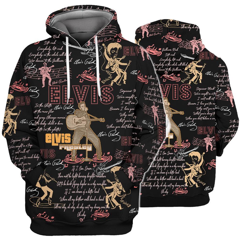 Elvis presley all over printed hawaiian hoodie