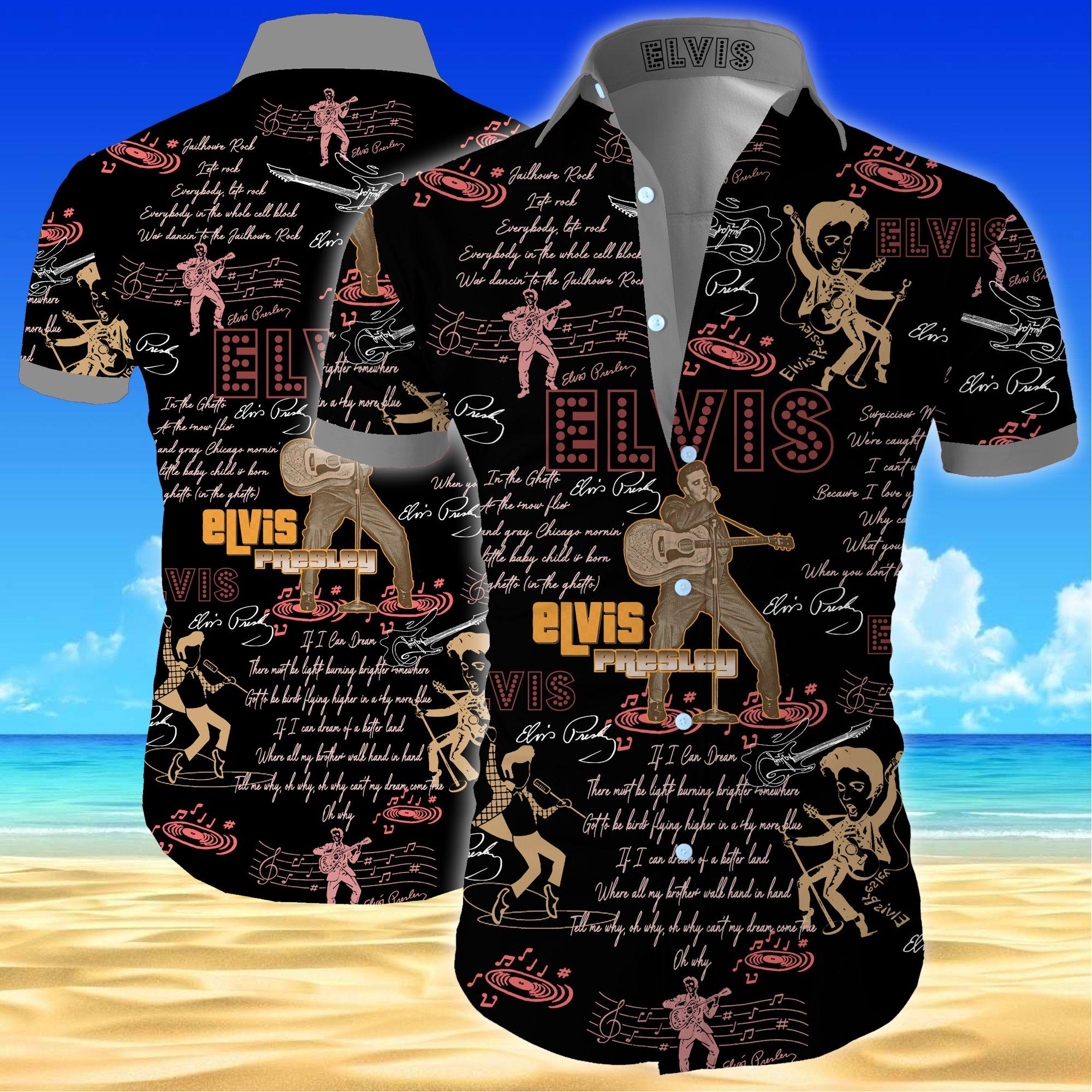 Elvis presley all over printed hawaiian shirt 1