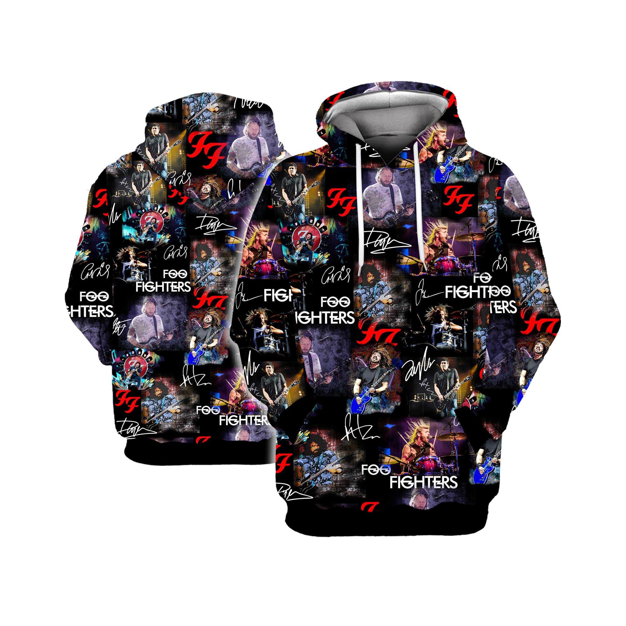 Foo fighters all over printed hawaiian hoodie