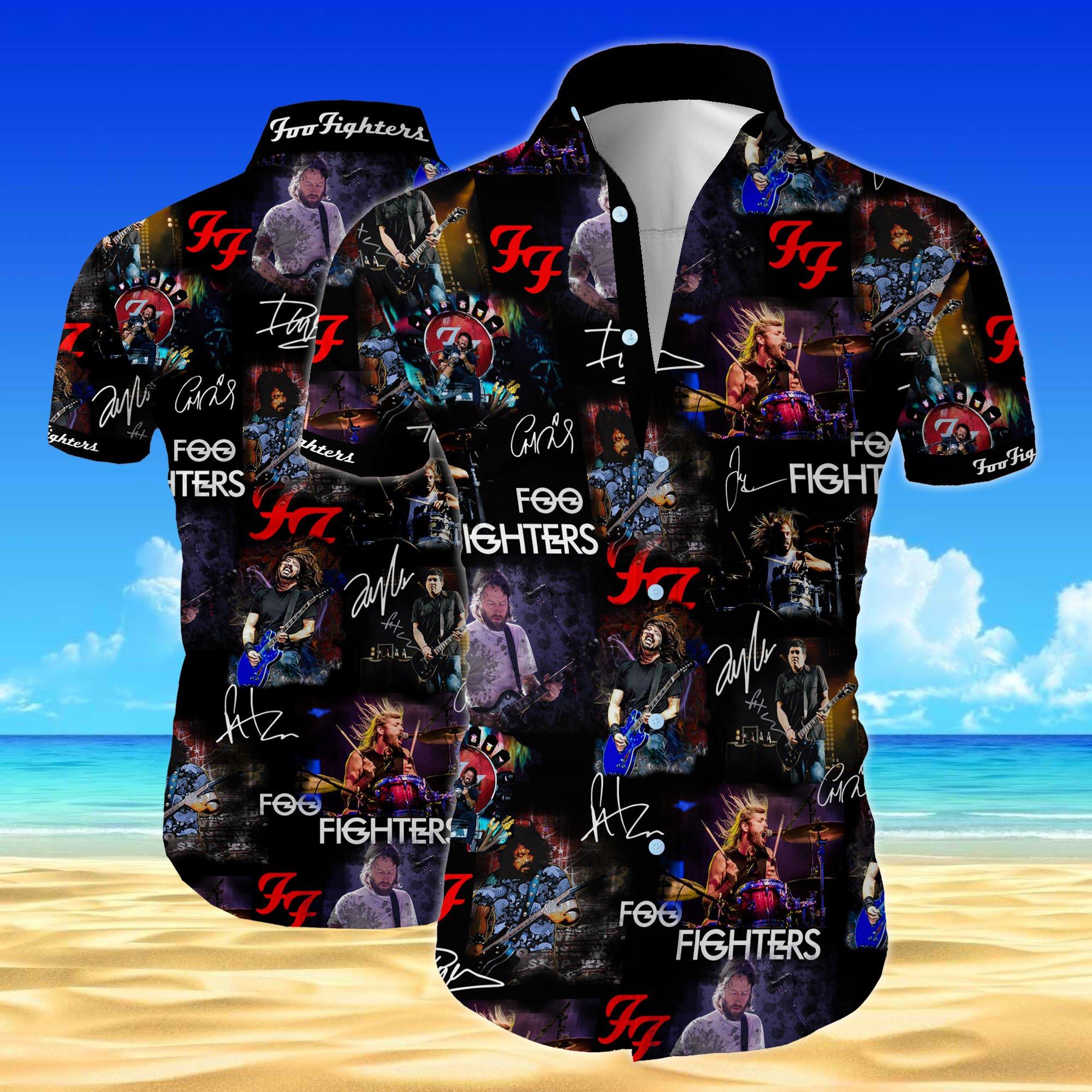 Foo fighters all over printed hawaiian shirt 1