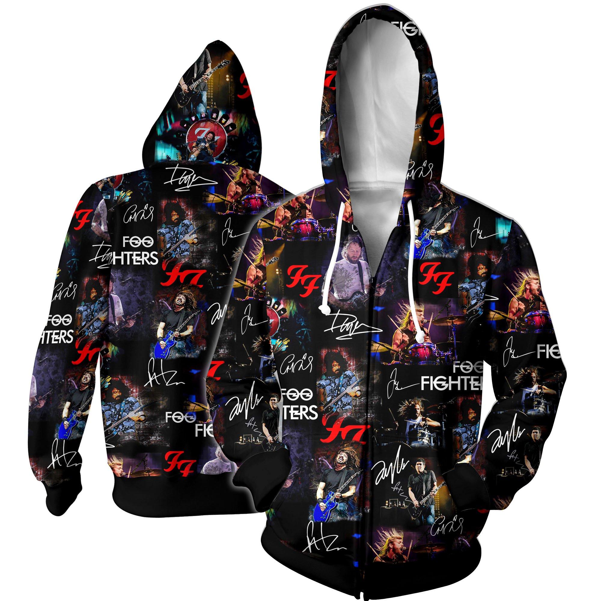 Foo fighters all over printed hawaiian zip hoodie