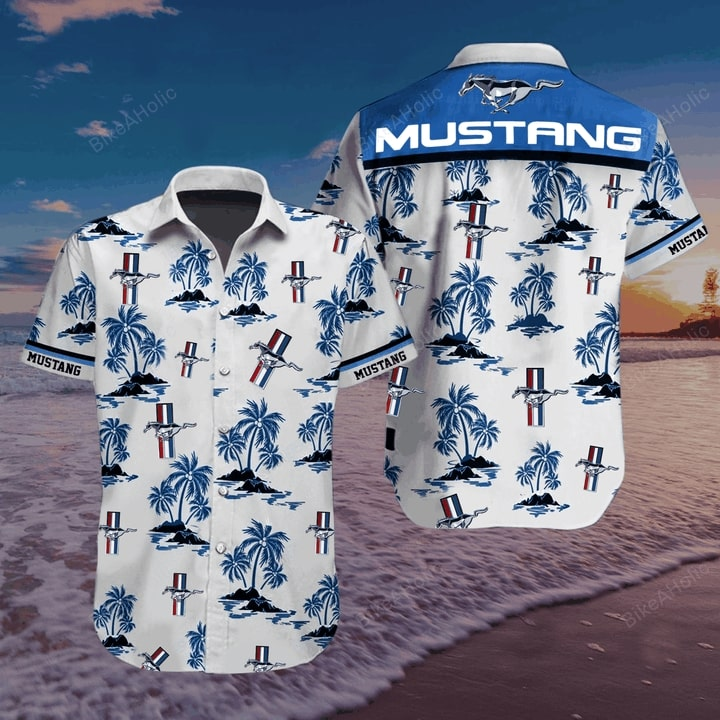 Ford mustang logo hawaiian shirt 1