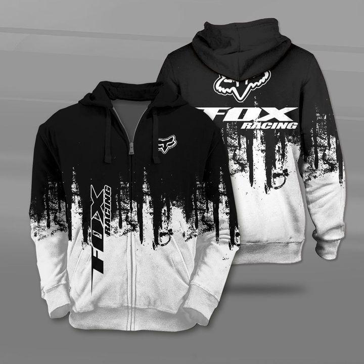 Fox racing fox head logo full printing zip hoodie