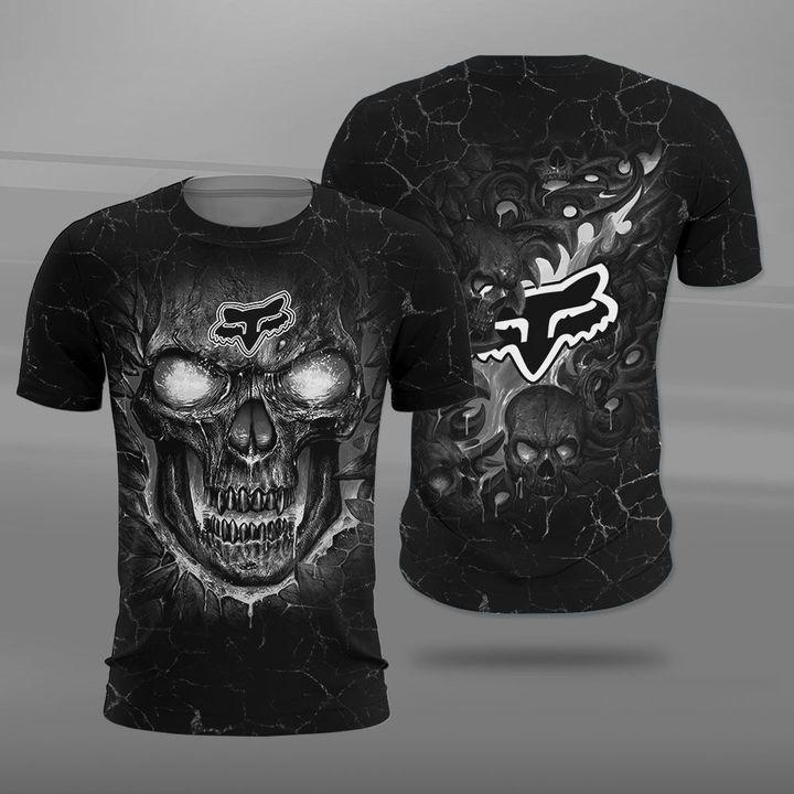 Fox racing lava skull full printing tshirt