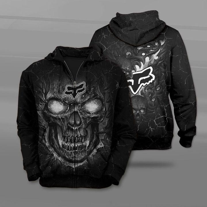 Fox racing lava skull full printing zip hoodie