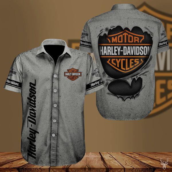 Harley-davidson american motorcycle hawaiian shirt 1