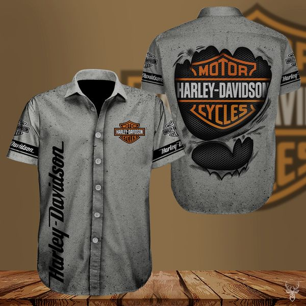 Harley-davidson american motorcycle hawaiian shirt 2