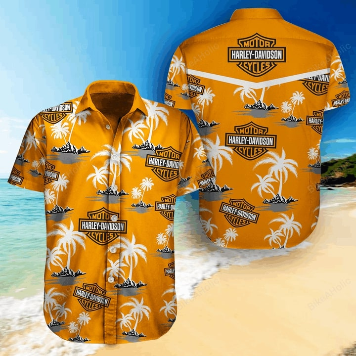 Harley-davidson motorcycle all over printed hawaiian shirt 1