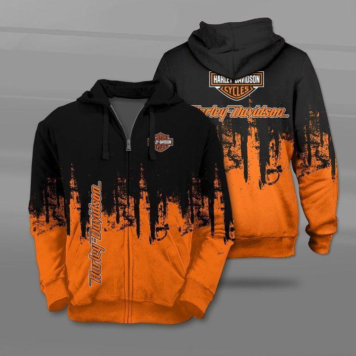 Harley-davidson motorcycle company logo full printing zip hoodie