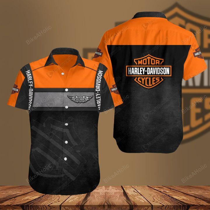 Harley-davidson motorcycle hawaiian shirt