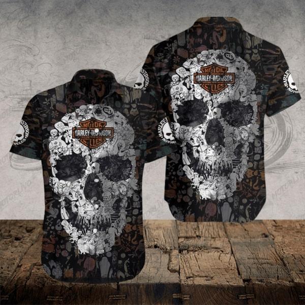 Harley-davidson motorcycle skull hawaiian shirt 1