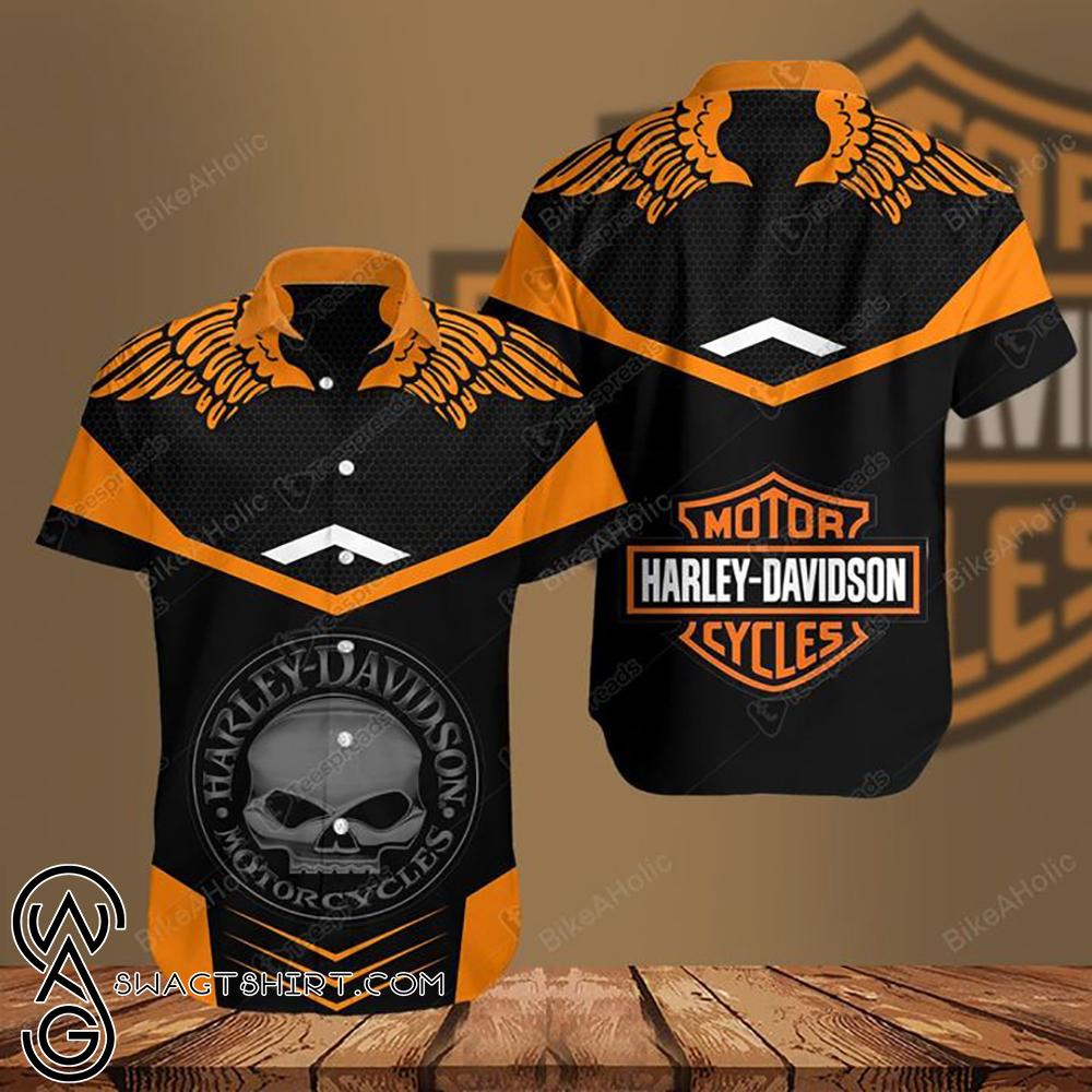 Harley-davidson motorcycle skull hawaiian shirt