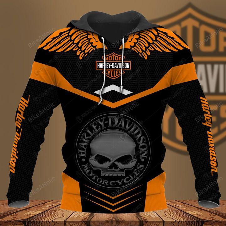 Harley-davidson motorcycle skull hoodie