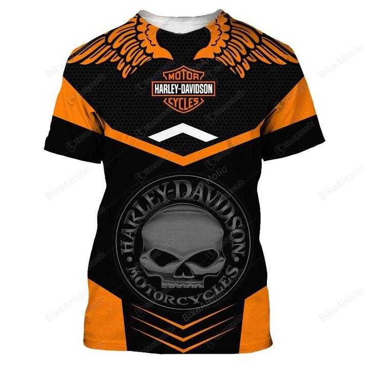 Harley-davidson motorcycle skull tshirt