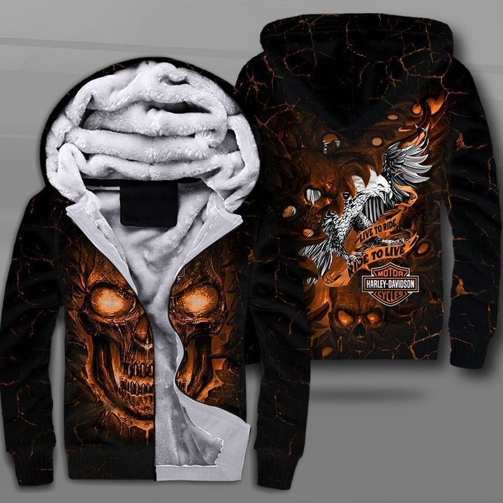 Harley-davidson motorcycles live to ride lava skull full printing fleece hoodie