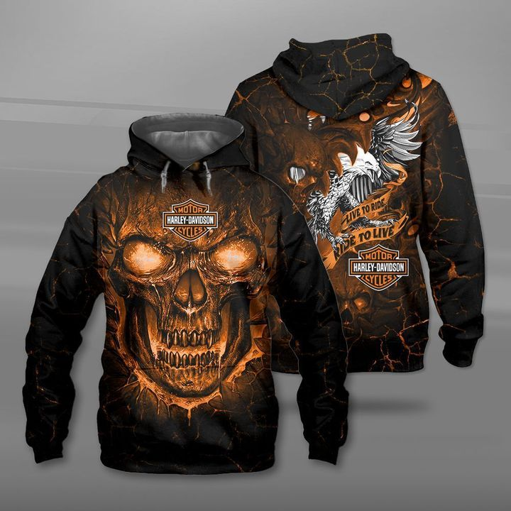 Harley-davidson motorcycles live to ride lava skull full printing hoodie